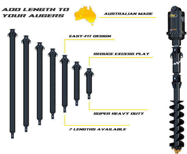 Auger extensions - machines up to 30t