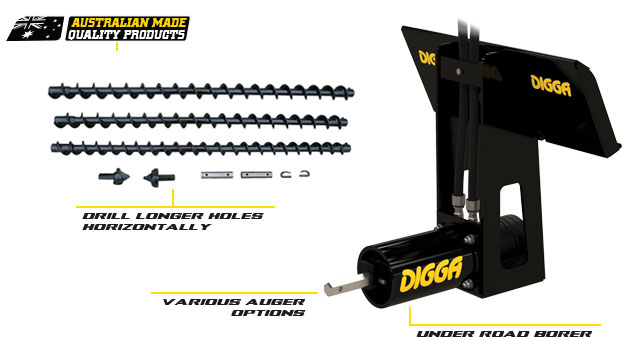 Horizontal (Underground) borer for mini loaders - Digga Australia