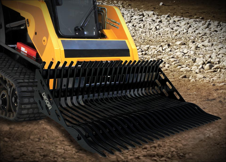 Rock Buckets and Grapple for Skid Steer Loaders and Tractors