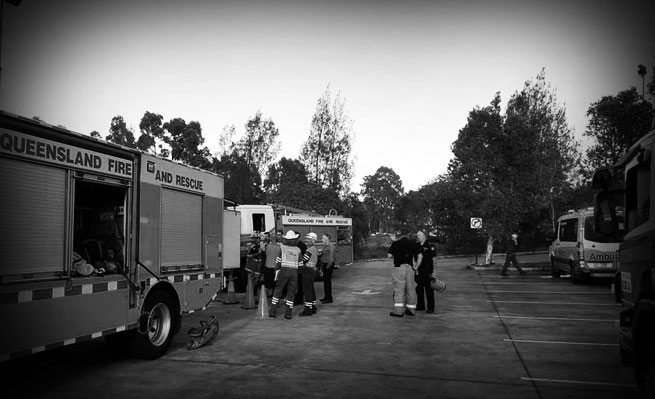 Digga Australia - Firefighters on site at the Yatala factory.